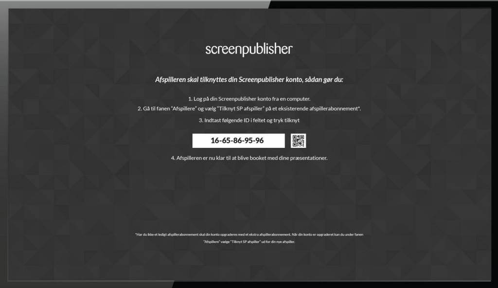 tilknyt infoskærm afspiller til screenpublisher